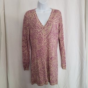 Magaschoni Size Medium Purple & Tan Dress